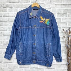 Silver Threads Leaves Embroidered Jean Jacket Sz L